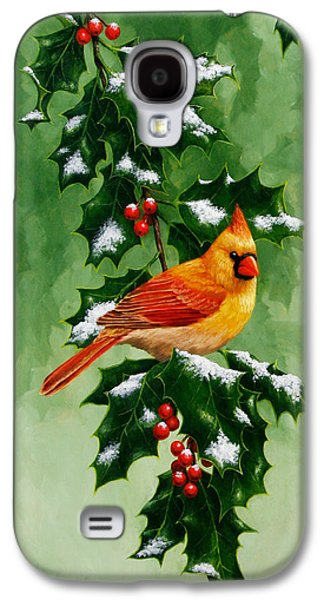 Female Cardinal And Holly Phone Case Galaxy S4 Case by Crista Forest