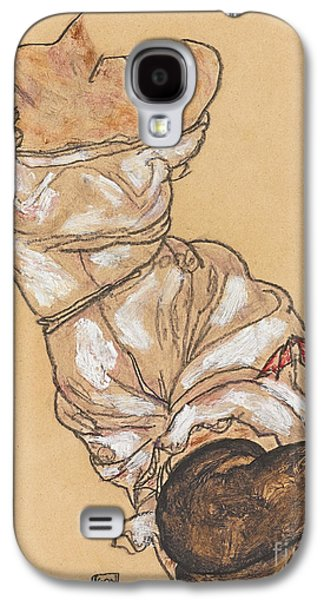 Female Torso In Lingerie And Black Stockings Galaxy S4 Case by Egon Schiele