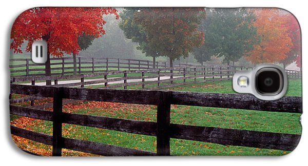 Fenceline And Wet Road, Autumn Color Galaxy S4 Case by Panoramic Images