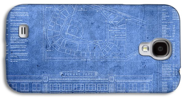 Fenway Park Blueprints Home Of Baseball Team Boston Red Sox On Worn Parchment Galaxy S4 Case by Design Turnpike