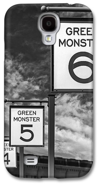 Fenway Park Green Monster Section Signs Bw Galaxy S4 Case by Susan Candelario