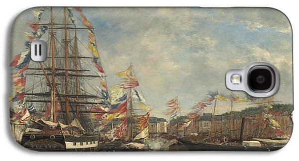 Festival In The Harbor Of Honfleur Galaxy S4 Case by Eugene Louis Boudin