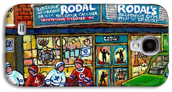 Fiddler On The Roof Painting Canadian Art Jewish Montreal Memories Rodal Gift Shop Van Horne Hockey  Galaxy S4 Case by Carole Spandau