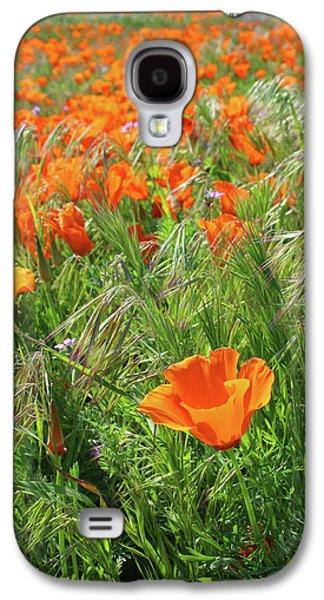 Field Of Orange Poppies- Art By Linda Woods Galaxy S4 Case by Linda Woods