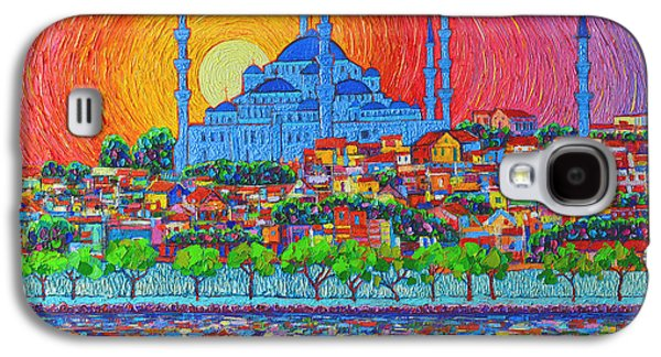 City Sunset Galaxy S4 Case - Fiery Sunset Over Blue Mosque Hagia Sophia In Istanbul Turkey by Ana Maria Edulescu