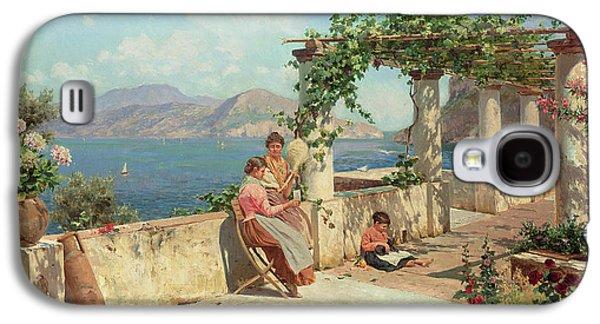 Figures On A Terrace In Capri  Galaxy S4 Case by Robert Alott