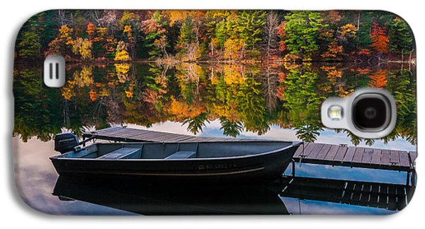 Galaxy S4 Case featuring the photograph Fishing Boat On Mirror Lake by Rikk Flohr