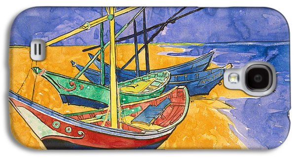Fishing Boats On The Beach At Saintes Maries De La Mer Galaxy S4 Case by Vincent Van Gogh
