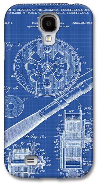 Fishing Reel Patent 1906 Blueprint Galaxy S4 Case by Bill Cannon