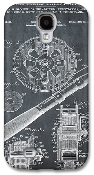 Fishing Reel Patent 1906 Chalk Galaxy S4 Case by Bill Cannon