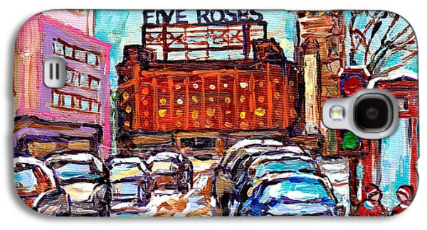 Five Roses Sign Montreal Landmark Marquee Street Hockey Painting Canadian Artist Carole Spandau      Galaxy S4 Case by Carole Spandau