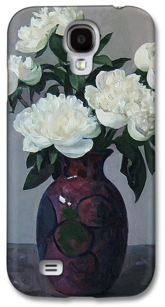 Five White Peonies In Purple Vase Galaxy S4 Case