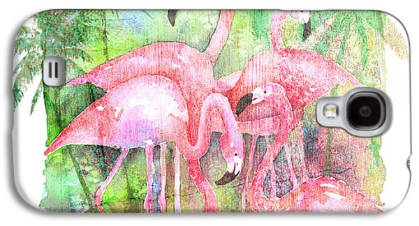 Flamingo Five Galaxy S4 Case by Arline Wagner