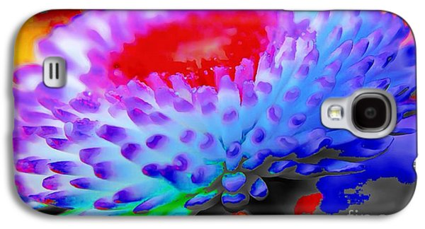 Floral Rainbow Splattered In Thick Paint Galaxy S4 Case by Catherine Lott