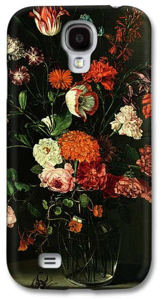 Floral Still Life In A Niche With Stag Beetle Galaxy S4 Case by Peter van Kessel