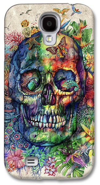 Floral Tropical Skull Galaxy S4 Case by Bekim Art