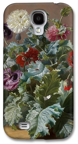 Flower Piece With Poppies And Butterflies Galaxy S4 Case by Celestial Images
