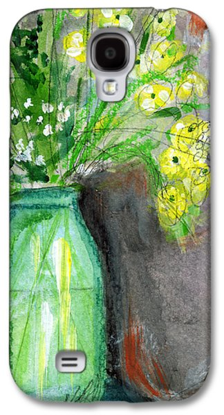 Flowers In A Green Jar- Art By Linda Woods Galaxy S4 Case by Linda Woods