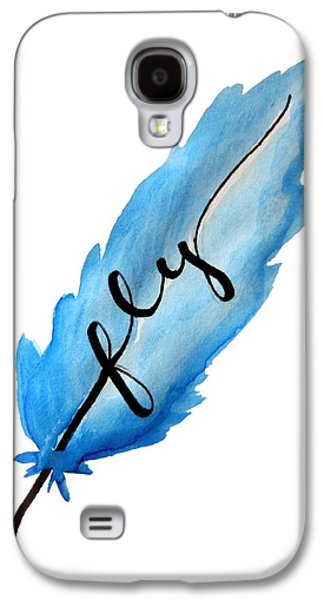Fly Blue Feather Vertical Galaxy S4 Case by Michelle Eshleman