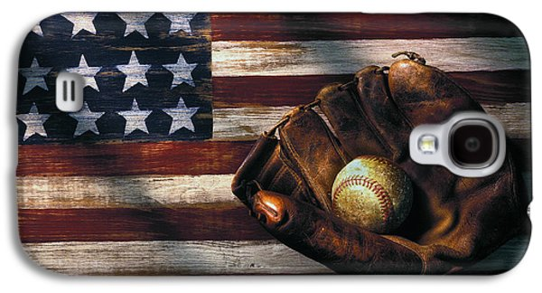 Folk Art American Flag And Baseball Mitt Galaxy S4 Case by Garry Gay