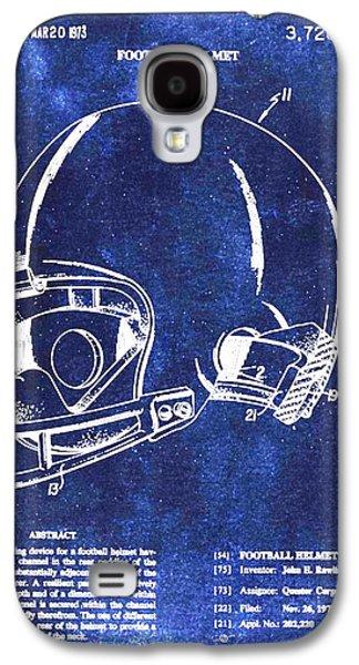 Football Helmet Patent Blueprint Drawing Galaxy S4 Case by Tony Rubino