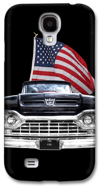 Ford F100 With U.s.flag On Black Galaxy S4 Case by Gill Billington