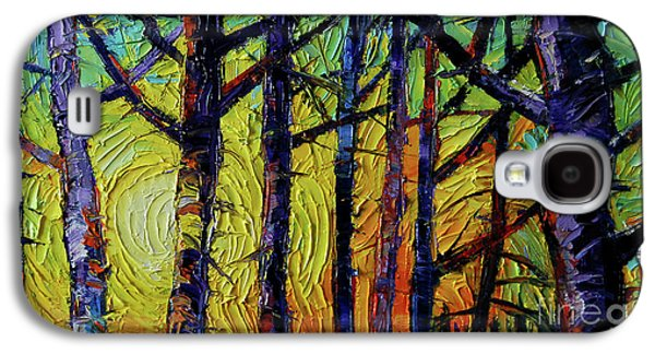 Forest Layers 1 - Modern Impressionist Palette Knives Oil Painting Galaxy S4 Case by Mona Edulesco