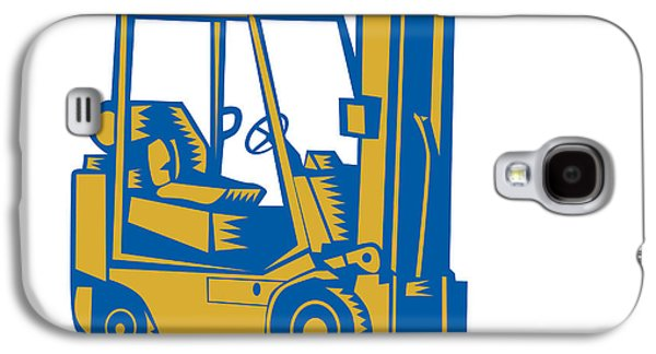 Forklift Truck Side Woodcut Galaxy S4 Case by Aloysius Patrimonio