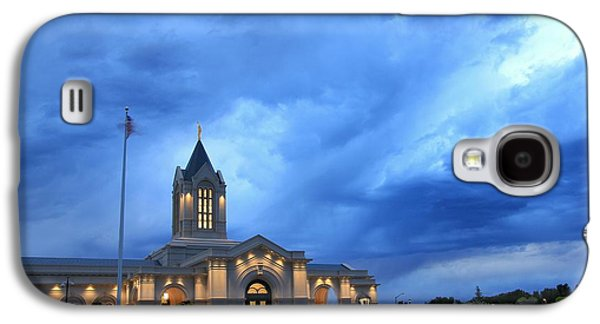 Fort Collins Lds Temple Blue Clouds Galaxy S4 Case by David Zinkand