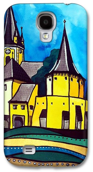 Galaxy S4 Case featuring the painting Fortified Medieval Church In Transylvania By Dora Hathazi Mendes by Dora Hathazi Mendes