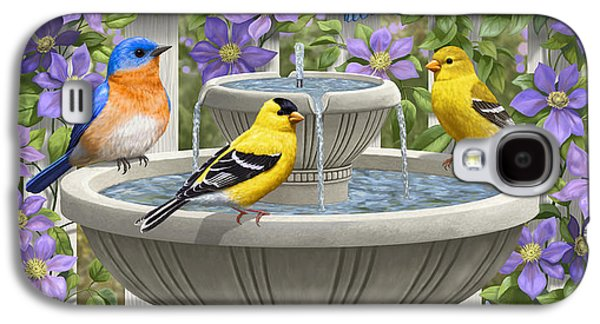 Fountain Festivities - Birds And Birdbath Painting Galaxy S4 Case by Crista Forest