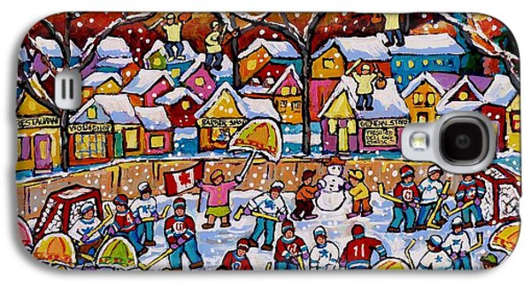 Four Fiddlers On The Roof Tops Hockey Art Snowy Winter Wonderland Skaters Skiers Sleds Umbrellas  Galaxy S4 Case
