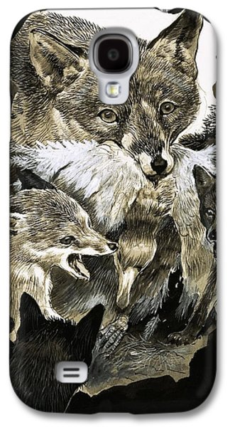 Fox Delivering Food To Its Cubs  Galaxy S4 Case by English School
