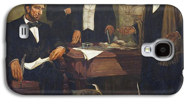 Frederick Douglass Appealing To President Lincoln And His Cabinet To Enlist African Americans Galaxy S4 Case by William Edouard Scott