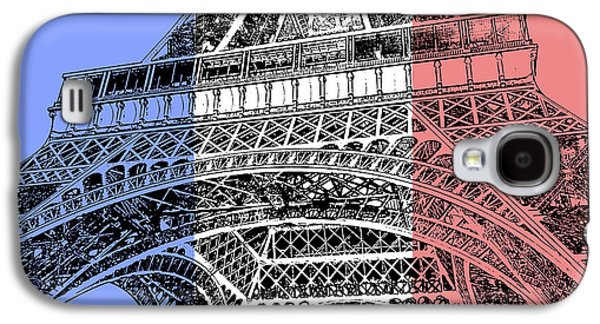 French Flag Theme Eiffel Tower Base And First Floor Paris France Stamp Digital Art Galaxy S4 Case