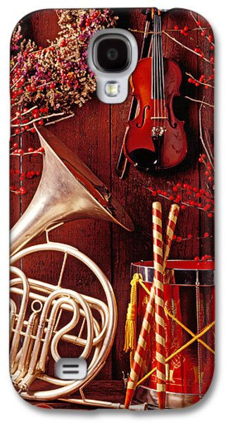 Drum Galaxy S4 Case - French Horn Christmas Still Life by Garry Gay