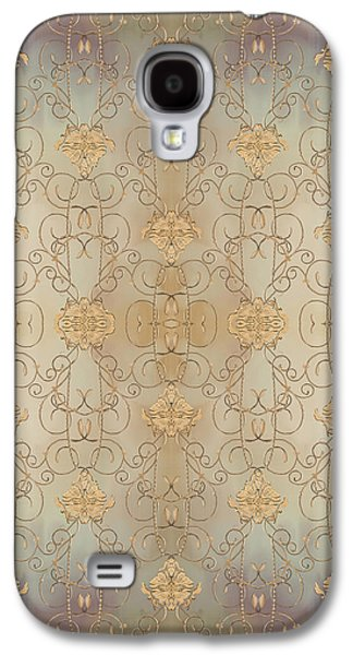 French Parisian Damask Swirl Vintage Style Wallpaper Galaxy S4 Case by Audrey Jeanne Roberts