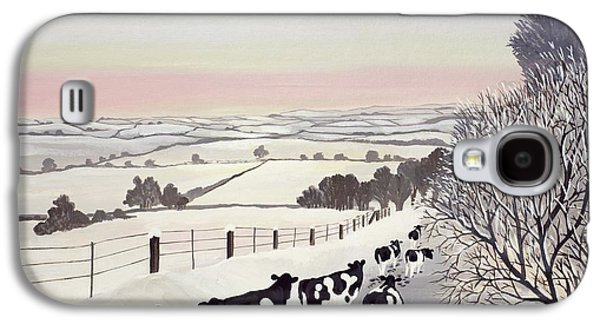 Friesians In Winter Galaxy S4 Case by Maggie Rowe