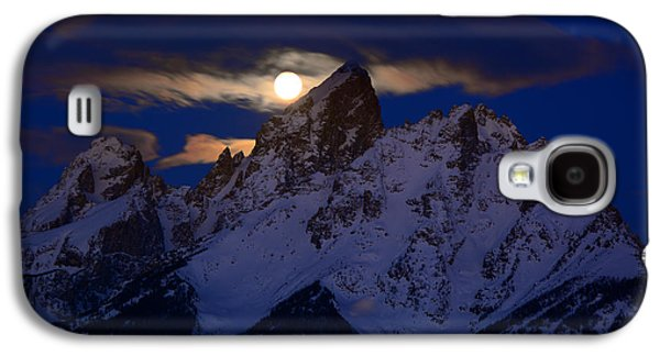 Full Moon Sets Over The Grand Teton Galaxy S4 Case