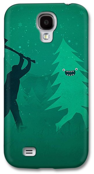 Funny Cartoon Christmas Tree Is Chased By Lumberjack Run Forrest Run Galaxy S4 Case