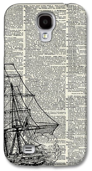 Galleon Ship Over Dictionary Page Galaxy S4 Case by Jacob Kuch