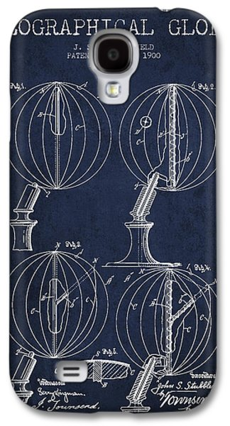 Geaographical Globe Patent From 1900 - Navy Blue Galaxy S4 Case by Aged Pixel