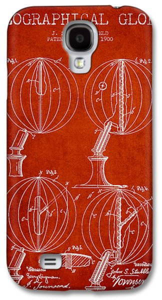 Geaographical Globe Patent From 1900 - Red Galaxy S4 Case by Aged Pixel