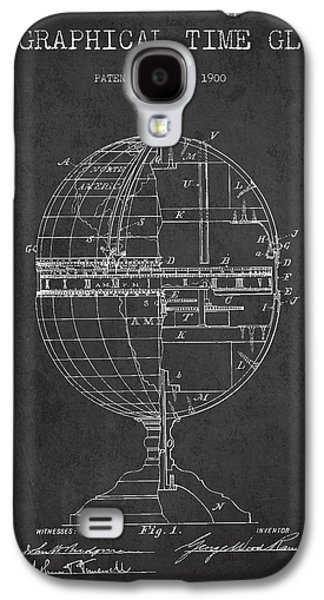 Geaographical Time Globe Patent From 1900 - Charcoal Galaxy S4 Case by Aged Pixel