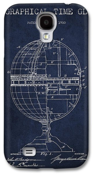 Geaographical Time Globe Patent From 1900 - Navy Blue Galaxy S4 Case by Aged Pixel