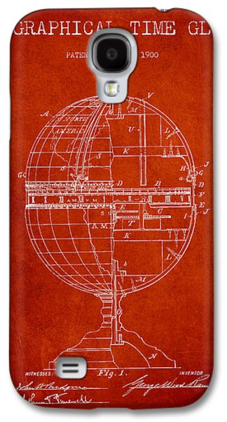 Geaographical Time Globe Patent From 1900 - Red Galaxy S4 Case by Aged Pixel