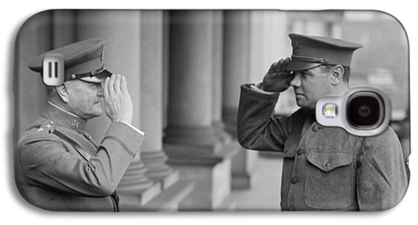 General John Pershing Saluting Babe Ruth Galaxy S4 Case by War Is Hell Store