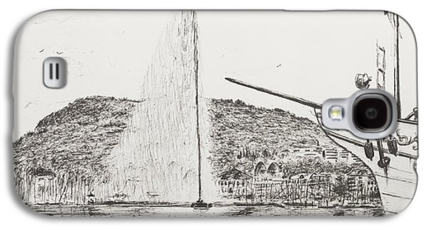 Geneva  Fountain And Bow Of Pleasure Boat Galaxy S4 Case by Vincent Alexander Booth