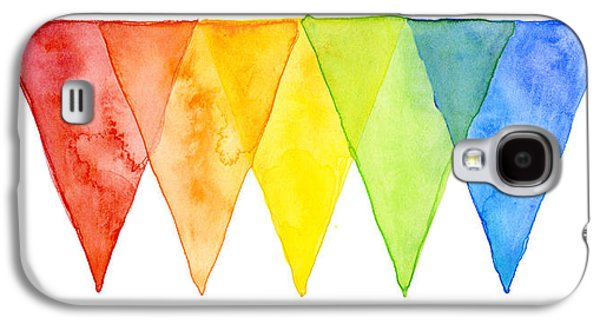 Geometric Watercolor Pattern Rainbow Triangles Galaxy S4 Case by Olga Shvartsur