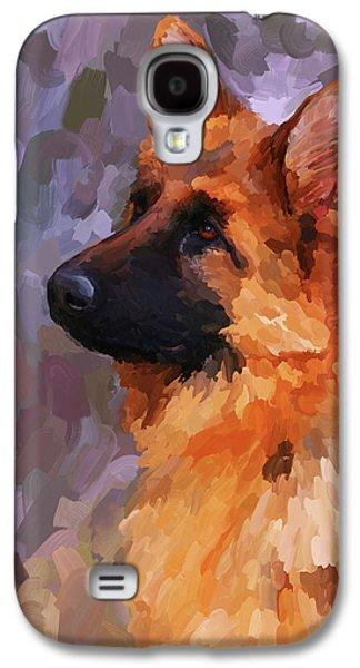Police Paintings Galaxy S4 Cases - German Shepherd 2 Galaxy S4 Case by Jai Johnson